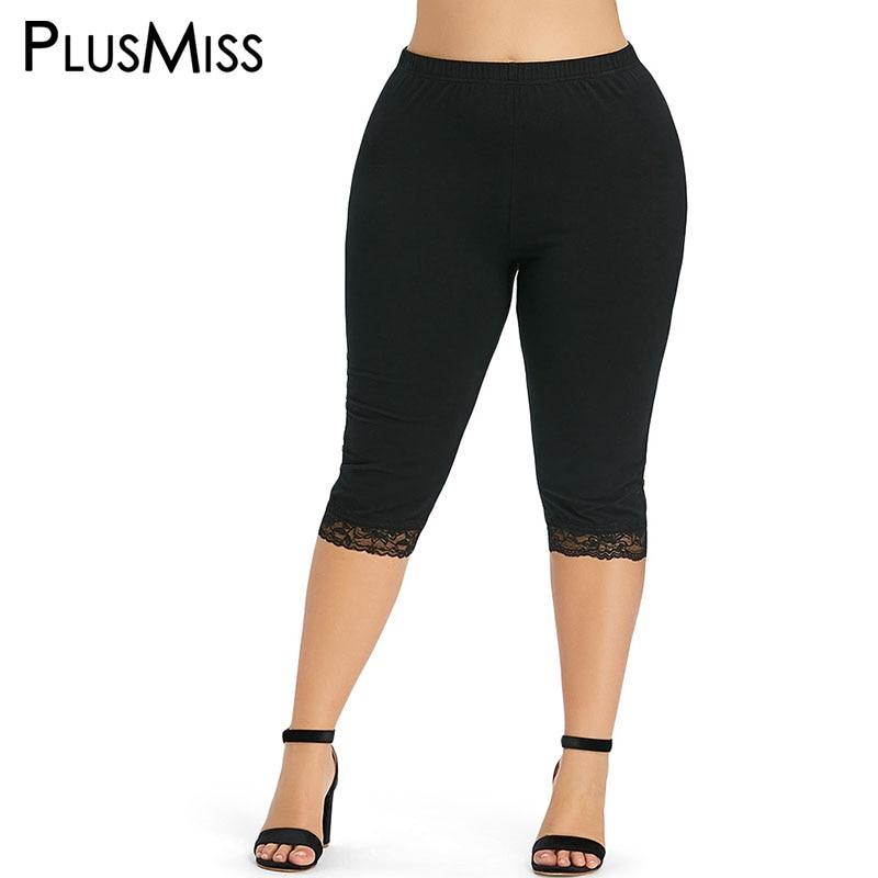 PlusMiss Plus Size 5XL High Waist Lace Fitness   Leggings   Jeggings Women Short Skinny Leggins Ladies Pants Legins Big Size Summer