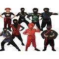 Дети Супер красивый Мальчик Дети черный красный зеленый warrior ninja костюмы хэллоуин игра производительность одежды одежда
