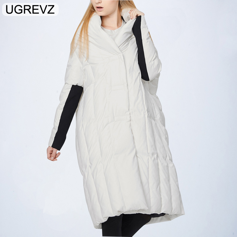 UGREVZ Boutique Women Down Jacket Coat Fashion European American Design 2018 New Winter White Cotton Down   Parka   Long Jacket Coat