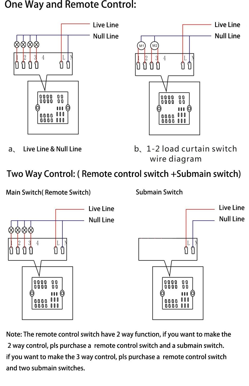 2pcs 1 Gang 2 way 3 way Wifi Remote Wallpad Black Glass Switch ...