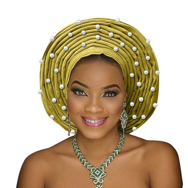 Aso oke gele nigeria phụ nữ headtie với hạt màu trắng người phụ nữ châu phi tự động gele cho đám cưới mũ nón 2018