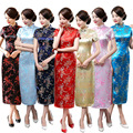 Plus Size 6XL Chinese Female Satin Novelty Costume Socialite Elegant Long Cheongsam Qipao Size S To 6XL 16 Colors 0115