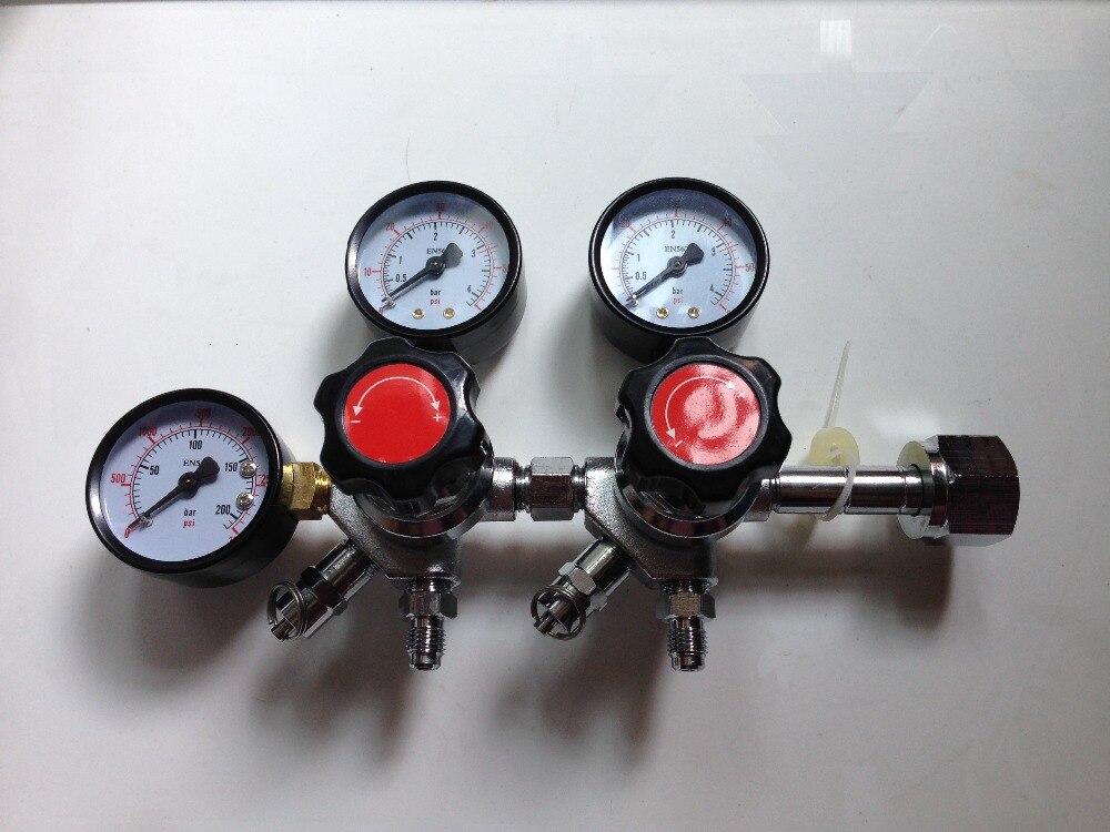 Double CO2 Régulateur De Jauge avec 1/4 MFL Checkvalves, Homebrew CO2 Régulateur, 0 ~ 2000psi, 0 ~ 60psi, CGA320