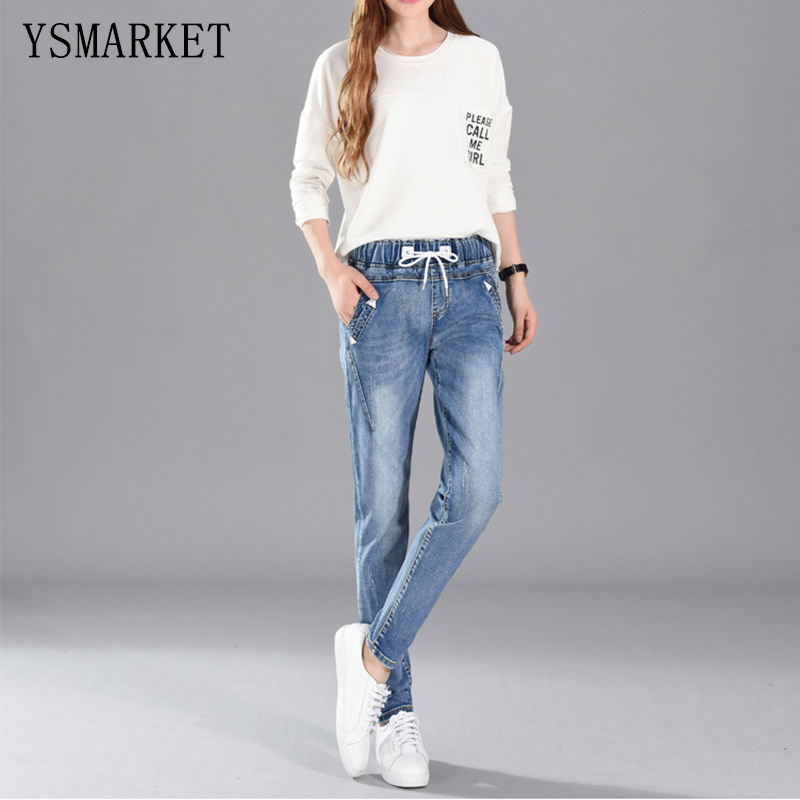 ФОТО 2017 Stretch Ripped Fashion Brand Plus Size Jeans Navy Casual Denim Pants Woman Pencil Slim Jean Trousers XL-5XL With Belt E1101