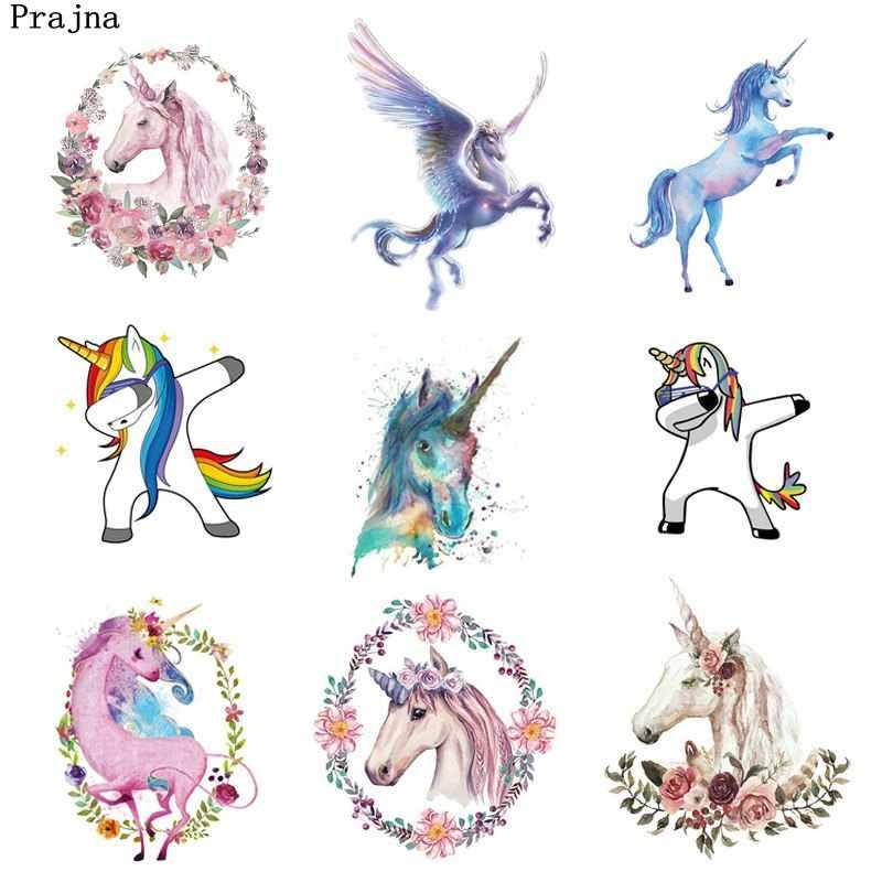 Prajna Flower Unicorn Iron-on Transfers Rose Magic Horse Iron-on Patch For  Baby Clothing Stickers Rainbow Hot Vinyl Printed Jean
