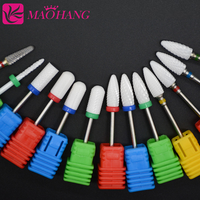 MAOHANG Ceramic Nozzel Nail Drill Bits Manicure Machine Accessories Rotary Electric Nail Files Manicure Cutter Nail Art Tools