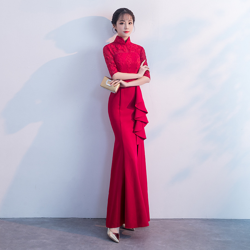 ac2bd44952 Long Slim Fishtail Cheongsam Women Chinese Traditional Dresses Ladies  Wedding Dress Qipao for Evening Party Toastmaster Clothing-in Cheongsams  from Novelty ...