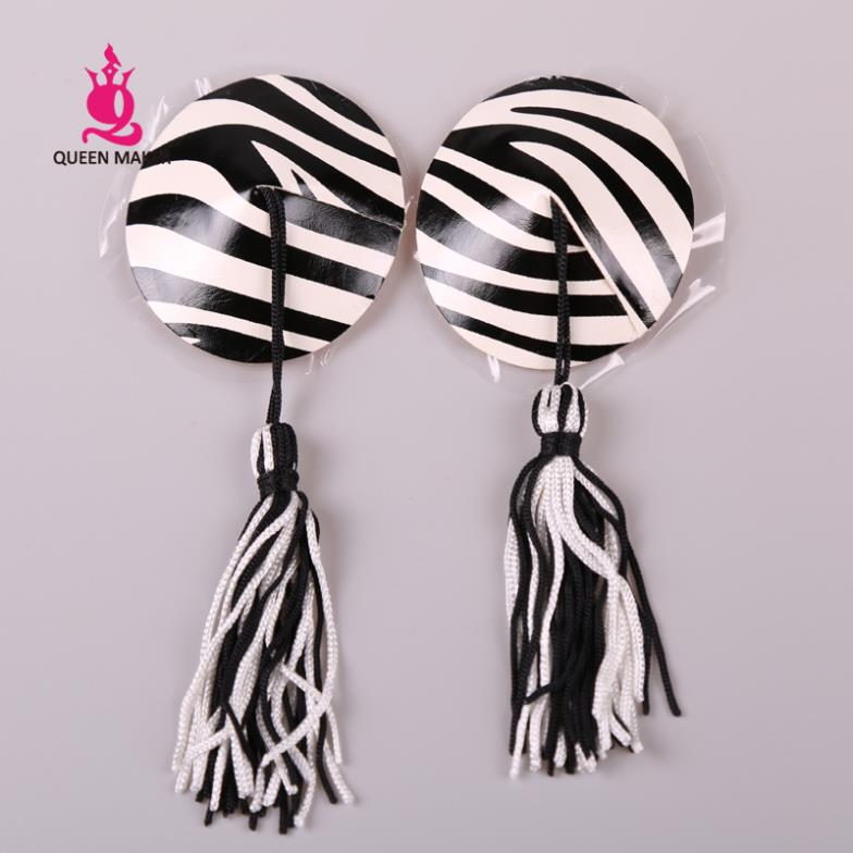 Buy QueenMaker 2014 Round tassel chest paste sexy zebra black white round  lingerie reusable nipple covers