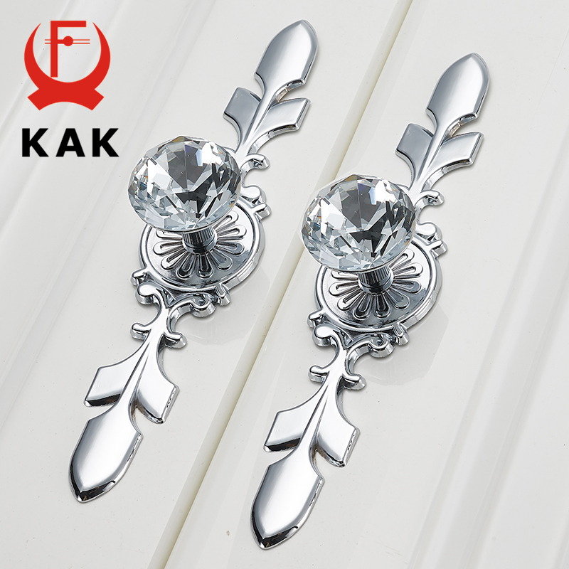 KAK Luxury Diamond Crystal Handles Shoebox Cabinet Handles Closet Dresser Drawer Knobs Wardrobe Pulls Pullers Furniture Hardware