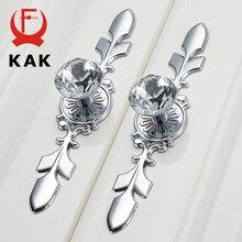 Tiradores de cristal de diamante de lujo KAK, tiradores de armario, herrajes de muebles