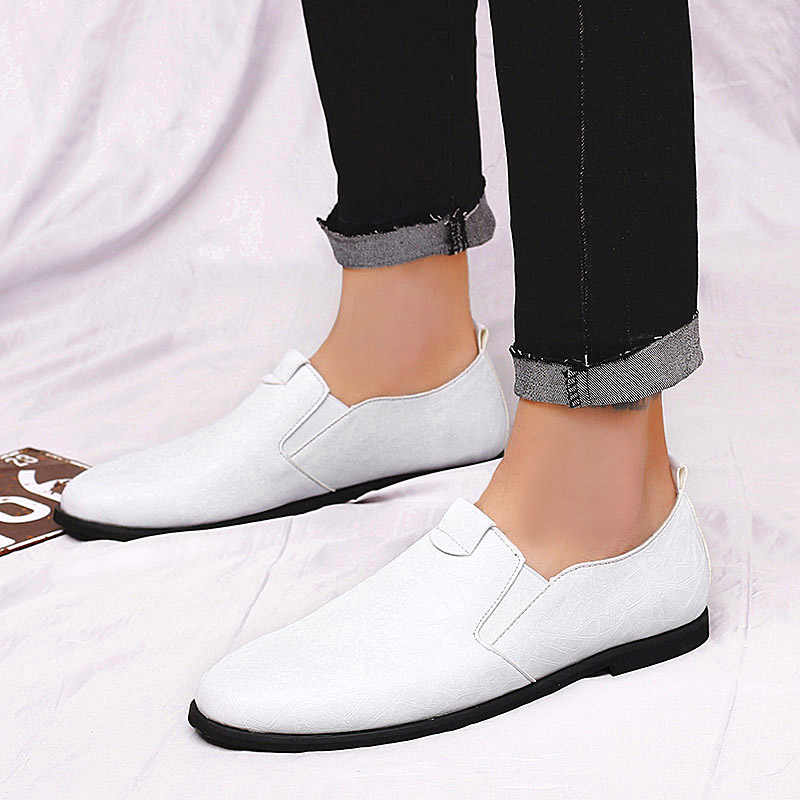 9cb9a125a ... Yoylap Fashion Formal Mens Dress Shoes Black White Slip-on Flats Men  Business Dress Shoes ...