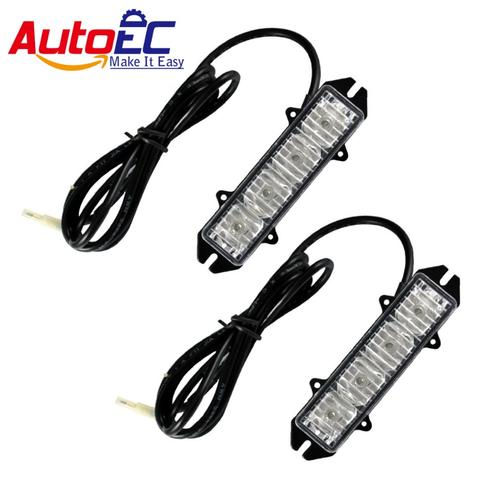 AutoEC 4 LED red/blue car warning strobe emergency light flashing Dash lamp for cars trunck Vehicle #LM42 gu10 5w 230lm 4 led red 1 led blue light