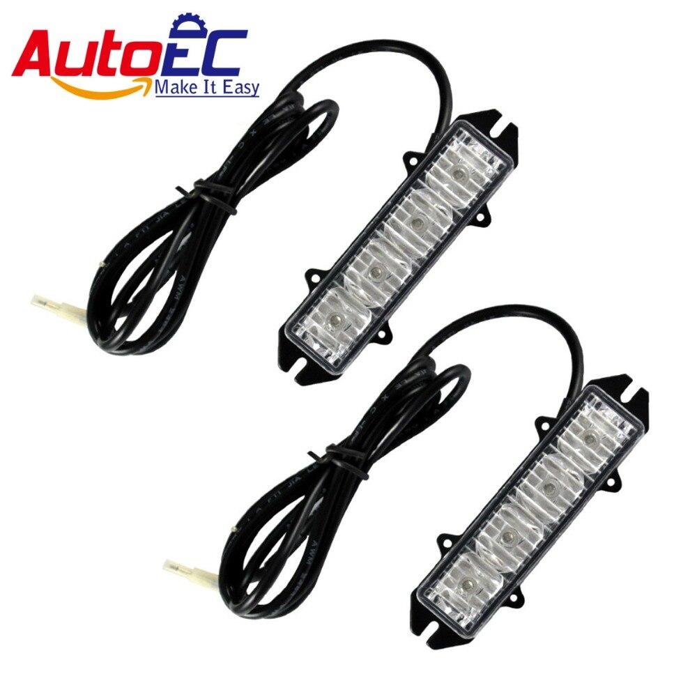 AutoEC 4 LED red/blue car warning strobe emergency light flashing Dash lamp for cars trunck Vehicle #LM42