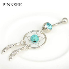 PINKSEE 1 Pc Fashion Navel Piercing Belly Bar Ring Dream Catcher Dangle Button Crystal Double Leaves