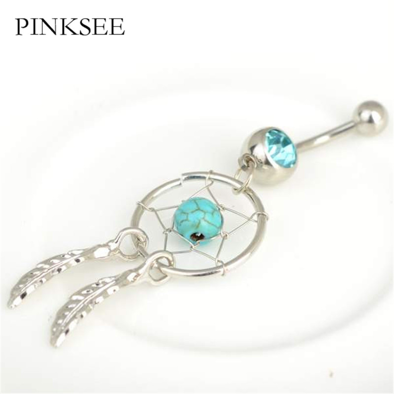 PINKSEE 1 Pc Fashion Navel Piercing Belly Bar Ring Dream Catcher Dangle Button font b Crystal