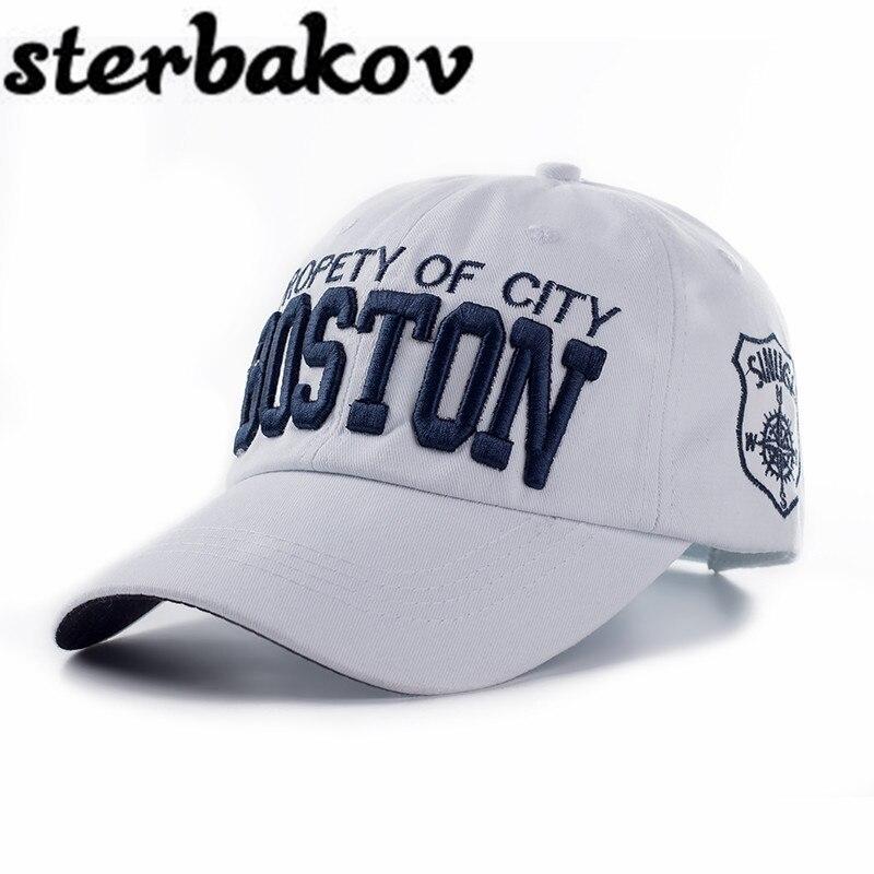 Fashion brand High quality Boston embroidery washable cotton baseball cap adjustable fast rebound cap bone masculino caps