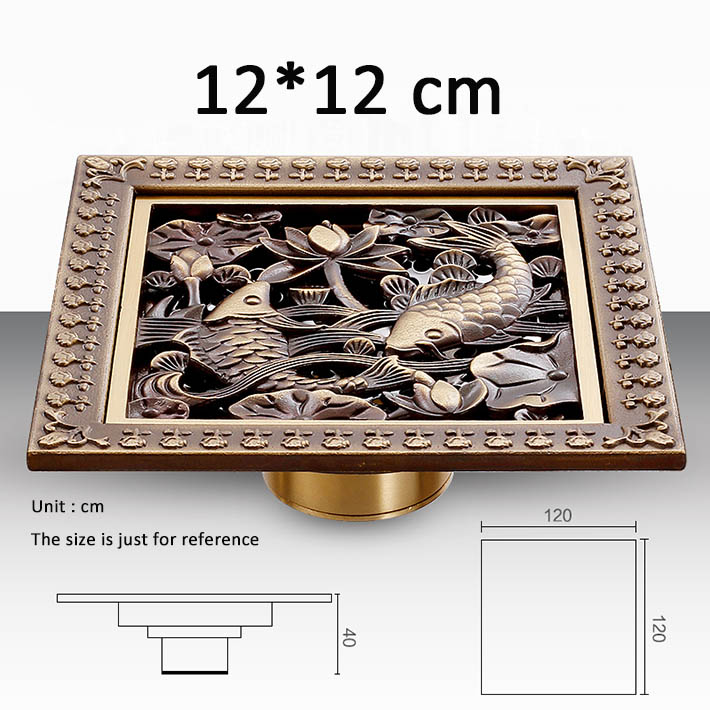 ФОТО Wholesale And Retail Creative Fish Carved 12CM Square Bathroom Floor Waste Drain shower ground drainer antique brass
