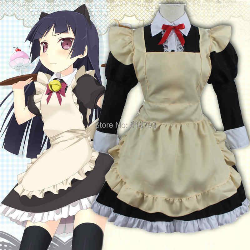 3bbed20935993 2015 Cosplay Costumes Kuro Neko lolita dress Gokou Ruri HALF sleeve maid  outfits anime uniform