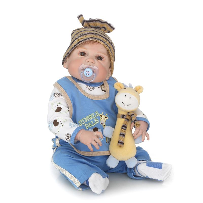 Nicery 22inch 55cm Bebe Reborn Doll Hard Silicone Boy Girl Toy Reborn Baby Doll Gift for Child Blue Yellow giraffe Baby Doll luoxiaohei style polyester spandex doll toy decoration black yellow blue white