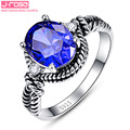 Jrose Vintage Laboratory Created Tanzanite Round Twisted Rings for Women Men 925 Sterling Silver Ring Wedding Christmas Gift
