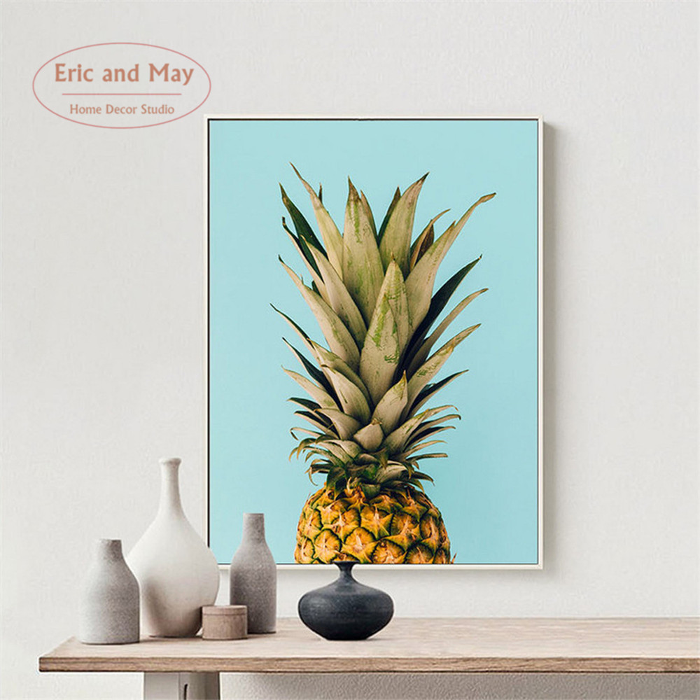 Pineapple Fashion Quote Canvas Art Print Poster , Nordic Watercolor ...