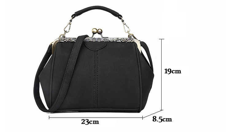 Women PU Leather Purse Retro Fashion Top Handle Handbag Kiss Lock Crossbody Shoulder Bag for Ladies (1)