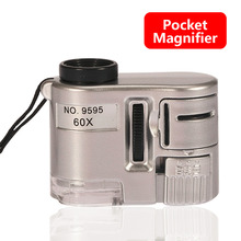 1pcs Brand New Mini Lens 60X Pocket Magnifier Microscope Wit