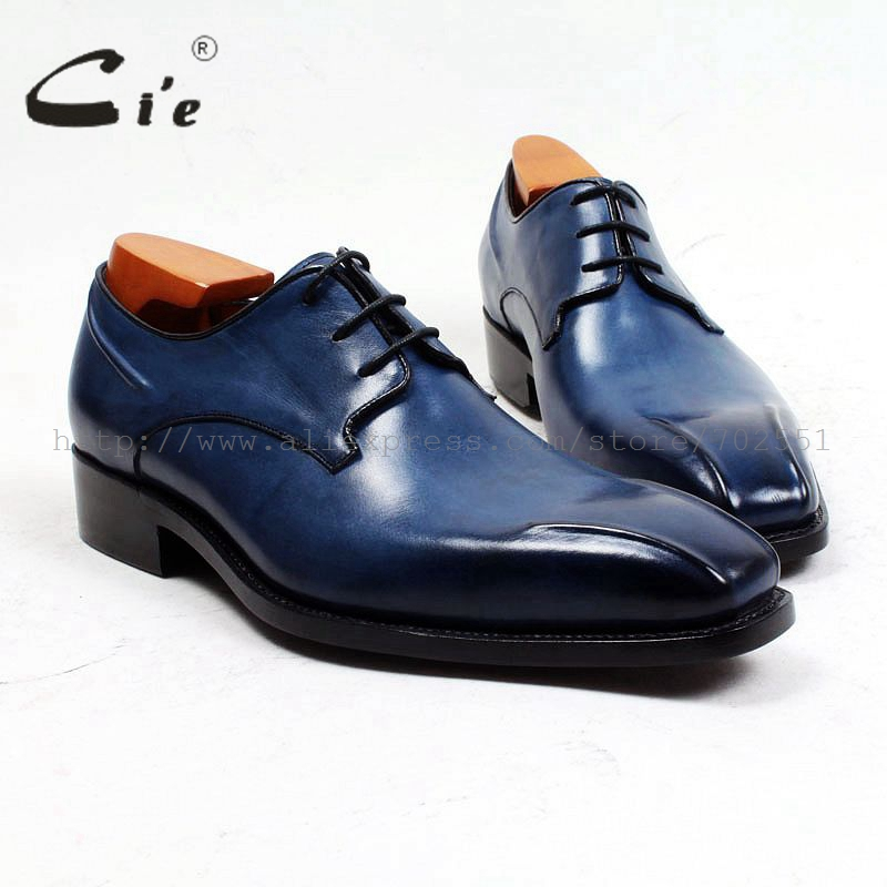 cie Square Toe Custom Bespoke Men Shoe Handmade Leather Shoe Men's dress office calf leather outsole lacing derby Goodyear D152 cie calf leather bespoke handmade men s square toe derby leather goodyear welt craft mark line shoe color deep flat blue no d98