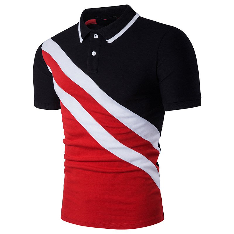 Contrast Color Red Black Stripe Short Sleeve Man   Polo   Shirts 2018 New Summer Casual Slim Fit Men's   Polo   Shirt Cotton Camisas B67