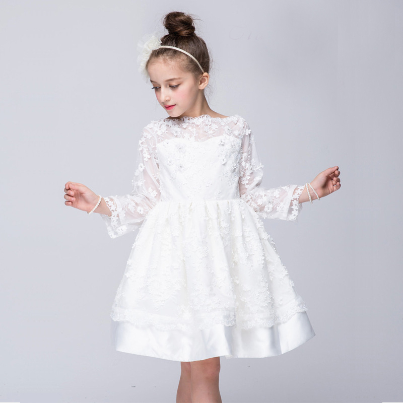 ФОТО 2016 Girl Dress Children Spring Autumn Party Prom Dresses Girls Clothes Wedding Dress Kids Evening Dress Lace Princess Clothing