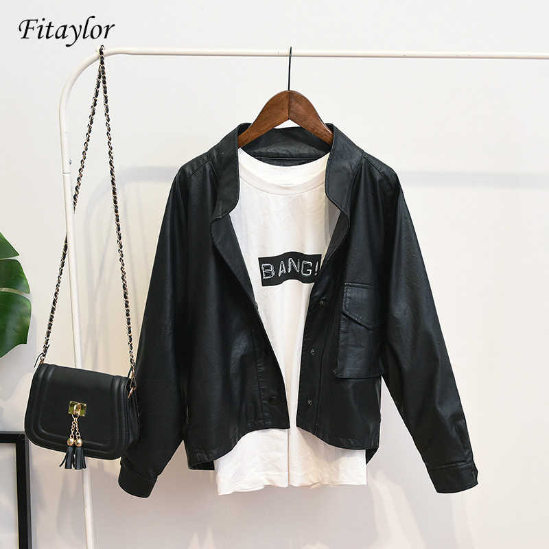 Fitaylor Spring New Women Casual Loose Bf Faux Leather Jackets Retro PU Long Sleeve Jacket Coat