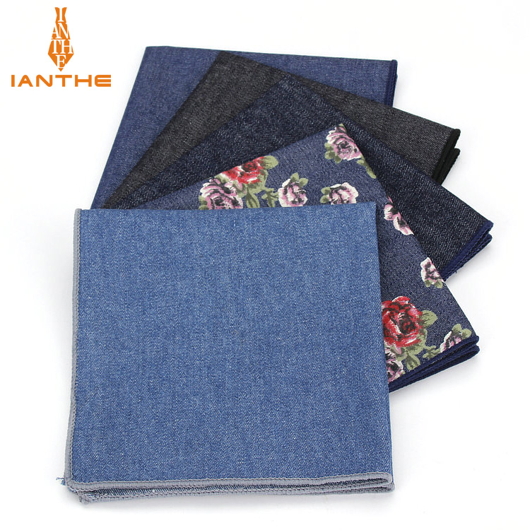 Solid Floral Printed Handkerchief Wedding Hanky For Mens Suit Pocket Square Casual Business Tie Set Handkerchiefs 23*23cm Towel