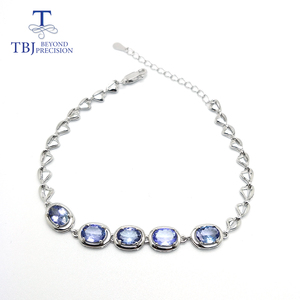 Image 5 - TBJ,Real natural 4ct up Blue tanzanite gemstone bracelet 925 sterling silver fine jewelry for women best gift