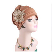 Muslim Women Stretch Cotton Rose Flower Turban Hat Cancer Chemotherapy Chemo Beanies Caps Headwrap Hijab Hair Cover Accessories
