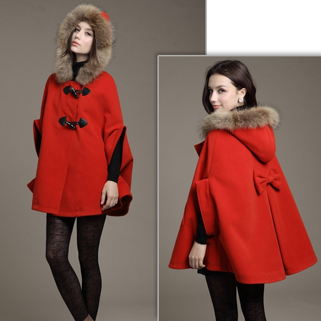 Популярная женская шаль из искусственного меха для девочек, шерстяное пончо с капюшоном, накидка с рукавом «летучая мышь», зимняя куртка, накидка, пончо - Цвет: Красный