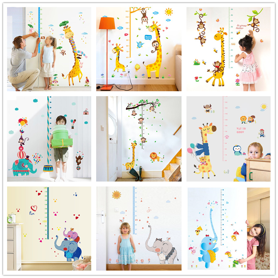 Jungle Animals Giraffe Elephant Height Measure Wall Sticker For Kids
