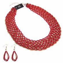 BK Many Colors Fashion Gold Chain Resin Seed Beads Choker Chunky Pendant Bib Necklace Earrings