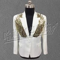 New Sequins Wings Suit Nightclub Bar Men Singers Performance Fit Slim Suit DS Show Blazer Men Trend Suit Stage Costumes ! M 5XL
