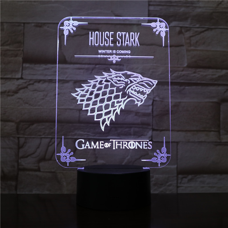 House Stark LED Night Light Touch Sensor 7 Color Changing Child Kid Gift Winter Is Coming Game Of Thrones Desk Lamp Bedside Wolf