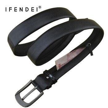IFENDEI Geld Leder Gürtel Für männer Luxus Marke Gürtel Schwarz Designer Geheimnis Tasche Strap Versteckte Geld Echte Lederband