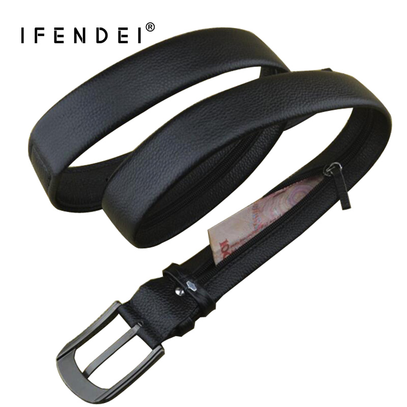 IFENDEI Pengar Läder Bälte För Mäns Luxury Brand Belt Svart Designer Secret Pocket Strap Hidden Money Genuine Leather Strap
