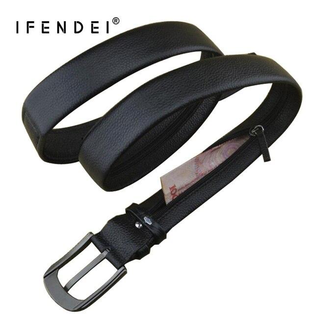 IFENDEI деньги кожаный ремень для Для Мужчин's Элитный бренд ремень черный дизайнер потайной карман на Скрытая деньги ремень из натуральной кожи