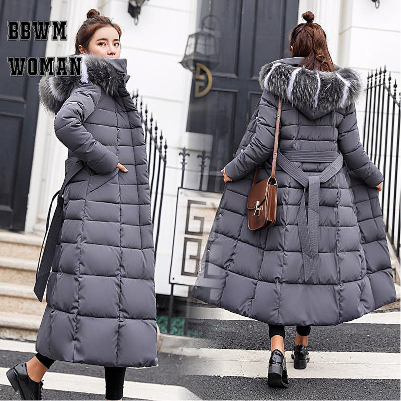 Women Long Fur Collar Hooded Warm Parkas M 3XL Office Lady Thick Winter Clothing Coat Jacket