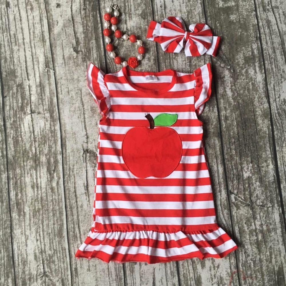 Весна Лето Одежда «снова в школу» для маленьких девочек Милая одежда Красный Полосатый Apple платье хлопок Детский комплект детская одежда с ...