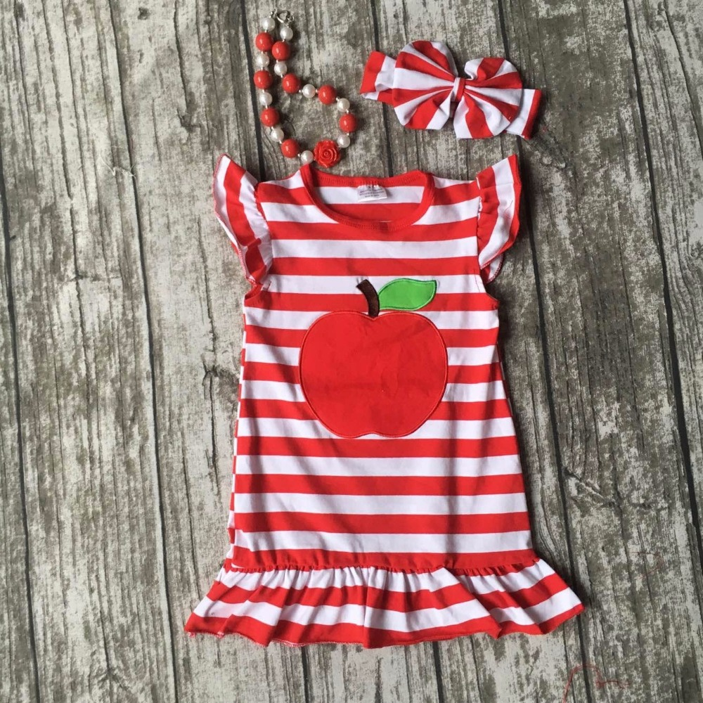 spring Summer back to school outfit baby girls cute clothes red striped apple dress cotton kids set kids wear with accessories блокнот в клетку с вашим текстом back to school