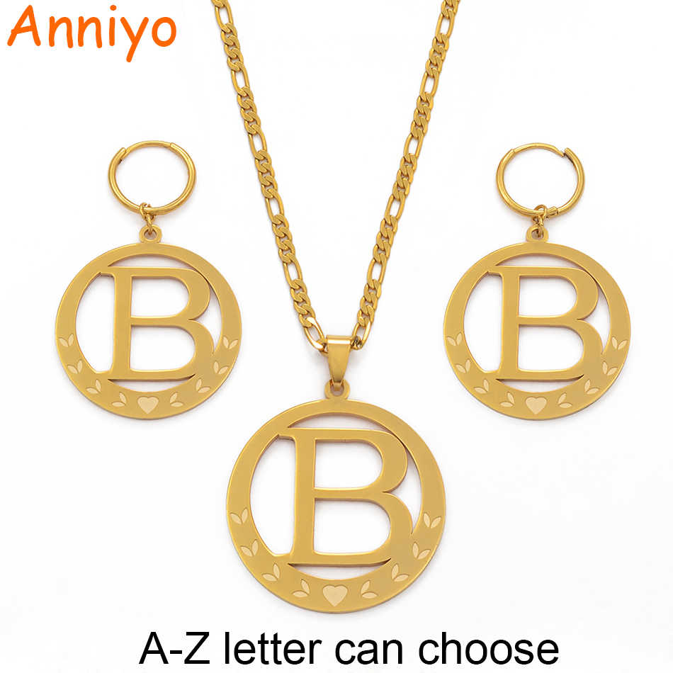 Anniyo Big Size Initial Set Pendant Necklaces&Earings Gold Color Micronesia Alphabet English Letter A-Z 26 Jewelry #076921P