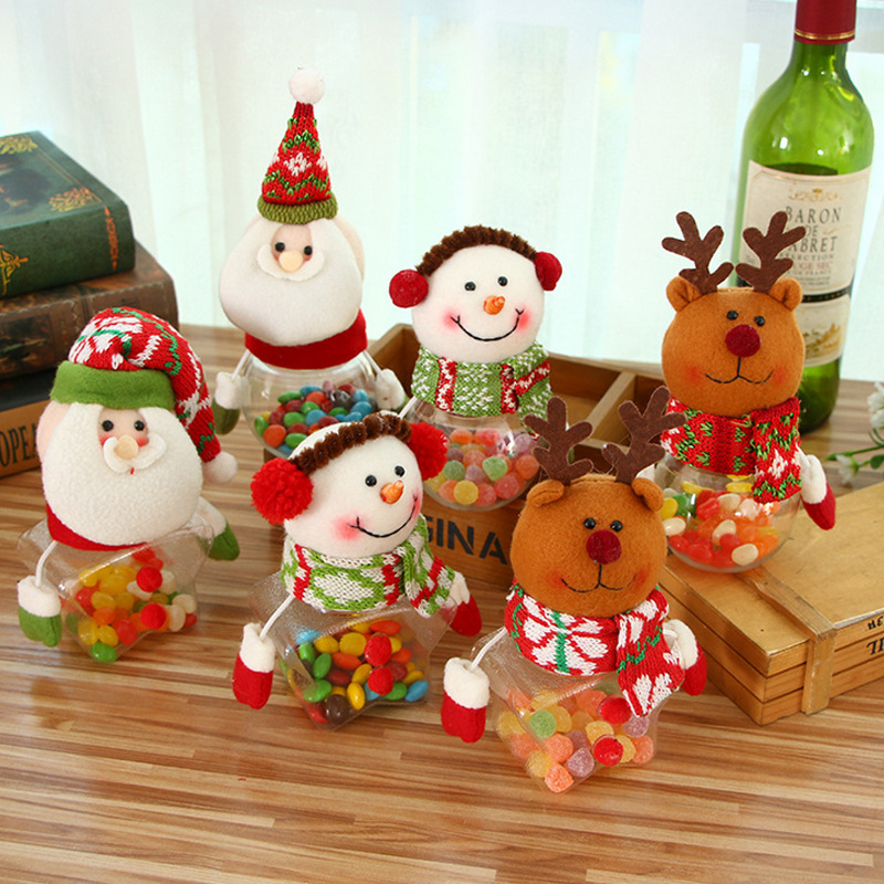 Christmas Snowman Plastic Candy Container Decorative Candy Jars Holiday Decor Christmas Tree Ornaments Children Kids Gifts PAC88