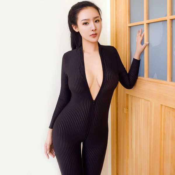 3ab4ec8bb83 Women s Sexy Dame Black Striped Sheer Bodysuit Smooth Fiber 2 Zipper Long  Sleeve Jumpsuit