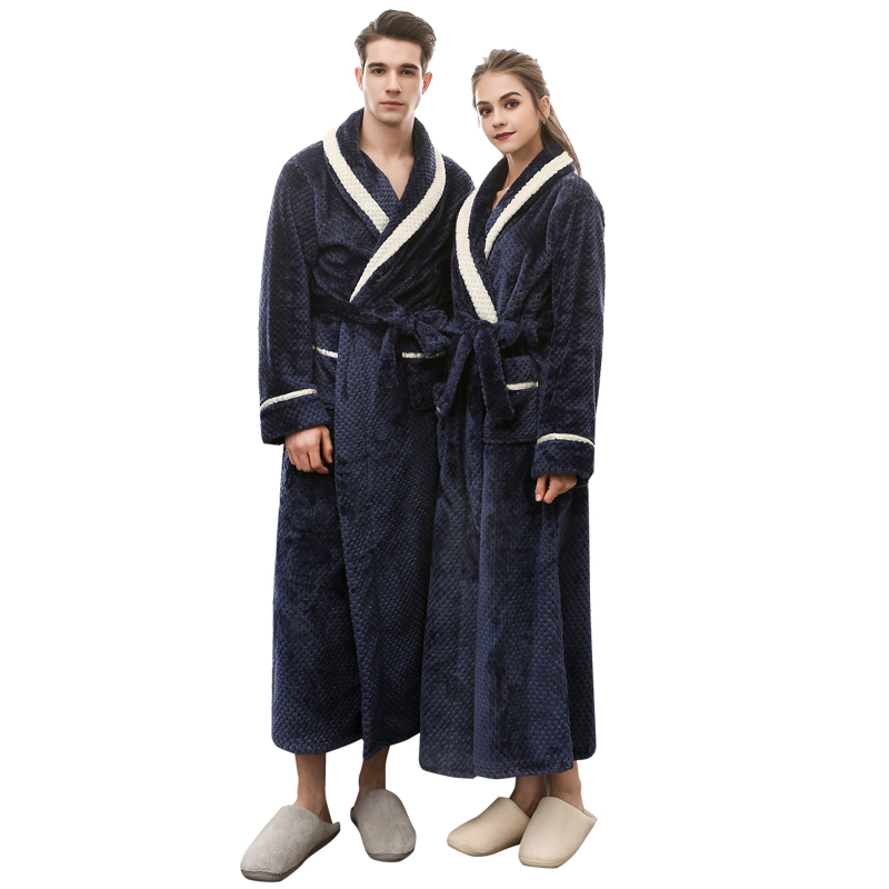 Men Bathrobe Long Flannel Warm Bath Robe 2018 Winter Thicken Kimono Robes Couples Male Dressing Gown Sexy Sleepwear Nightwear