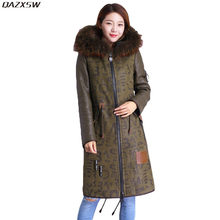 2018 New Women Winter Genuine Leather Jacket Long Casual Sheepskin Coat Real Double-faced Fur Vintage Loose Raccon Collar AC282